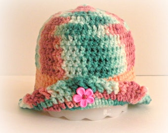 Baby Bucket Hat, 3 To 6 Month Sized, Multicolored Pinks and Greens, Festive Style, Crocheted, Easter Bonnet, Sun hat