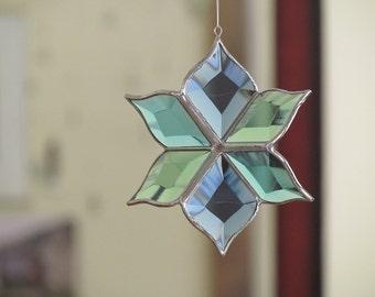 New Aqua Stained Glass Flower Suncatcher Sculptural Blue Turquoise Green Glass Ornament Indoor Outdoor Garden Art Made in Canada