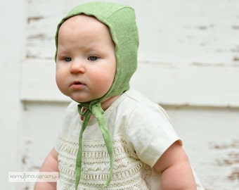 Baby bonnet, spring hat, green linen hat with ties, baby gift, baby girl hat, baby boy hat, lightweight hat