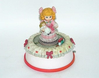 "Enesco ""My Favorite Things"" Music Box - Little Girl and Her Doll - 1988"