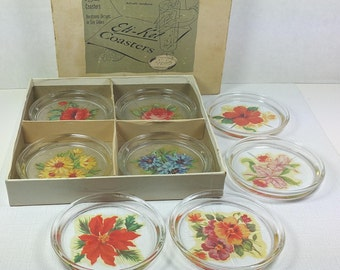 "GLASS COASTERS with Floral Decals, 1940's, Set of 8 in Original ""Eti-Ket"" Box, Vintage Kitchen, Entertaining, Barware"