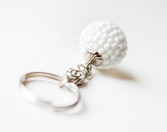 White Keyring. Beaded White Keychain. White Party Favour, Unique Key Chain, Keyring, Keychain, Zipper Pull, Charm, Unique Gift Idea