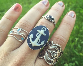 Anchor Cameo Ring / Adjustable Womens Pirate Costume Steampunk Cosplay Bridesmaids Bridal Party Wedding Favors Boho Group Sailor Navy Themed
