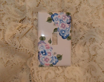 Cottage Chic Hand Painted Hydrangea Single Light  Switch Cover