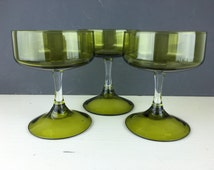 Olive Champagne Coupe Glasses, Clear Stem, Set of 3, Dessert Dish, Mad Men, Old Hollywood Style, Sasaki Japanese Glass, Mid-Century Modern