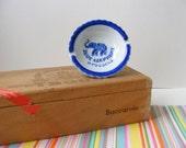 Vintage Brussels Souvenir Ashtray, Ring Dish, Pedestal Dish, Blue Elephant, Elephant Trinket Dish