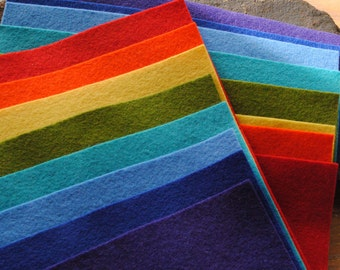 Wool Felt Sheets Rainbow Bright Pack of 16