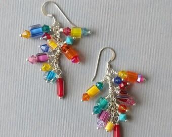 Multicolor Furnace Glass,Austrian Crystal, Art Glass, Cane Glass, Bead Cluster Dangle Earrings Set 2