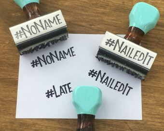 Teacher Stamp set, No Name Stamp, Late Stamp, Nailed it Stamp, Teacher Rubber Stamp, Robins Egg Blue, Wooden Stamp, Teacher Gift