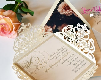 Sample - Ivory and Champagne or Gold Square Laser Cut Wedding Invitation Suite Custom with custom rose envelope liner