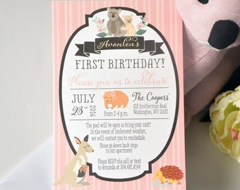 Australian Outback Baby Shower or Birthday Party Invitation with a Koala, Wombat and other animals
