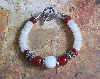 Fire in the Moon -- Moonstone and Carnelian Sterling Bracelet
