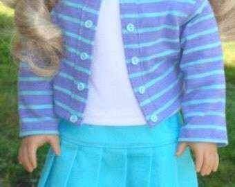Knit Jacket, Pleated Skirt & Tank Top For 18-Inch Dolls Such As American Girl or Similar Dolls