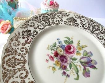Vintage Heinrich Bavarian Floral Gold Dinner Plates Set of Four