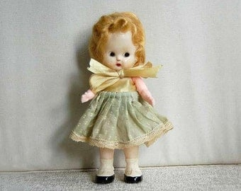 Vintage S & E Blond Doll, Small, 1950s, Original Clothing and Old Child's Barrette, Movable Arms, Plastic