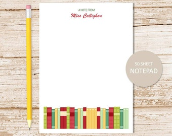 personalized notepad . school books notepad . teacher note pad . personalized stationery stationary . teacher gift . librarian, library