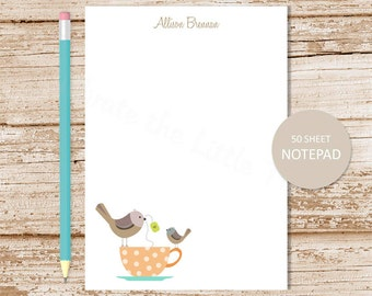 tea cup birds personalized notepad . tea cup note pad . personalized stationery . teacup stationary