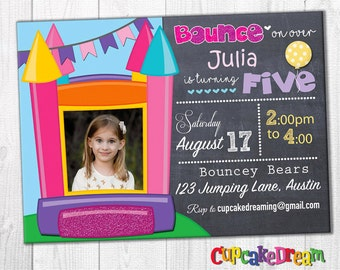 Bounce House Invitation, Girl Birthday Party