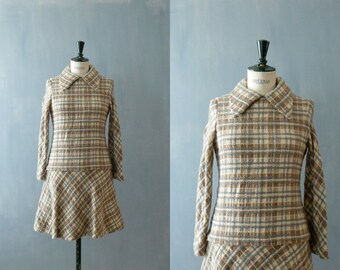 Vintage plaid dress. 1960s dress. Drop waist dress