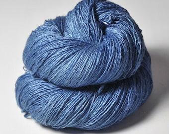 Feeling a little blue OOAK - Tussah Silk Lace Yarn