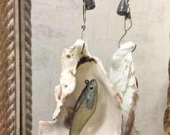 Pacific Oyster Shell and Fishing Lure Fan Pull