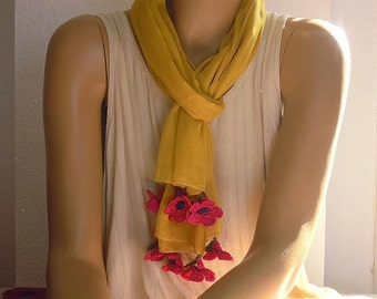 ochre yellow scarf with pink crochet flowers, cotton