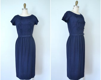 1960s navy sailor moon dress // simple fitted school girl dress // medium