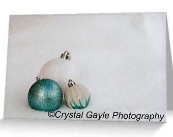 """Holiday Greeting Cards for Co-workers, New Years Celebration Invite,  4.25""""x5.5"""" or 5""""x7"""", Turquoise and White Christmas Party Invitations"""