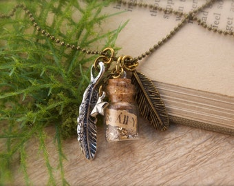 Feather Bottle Necklace