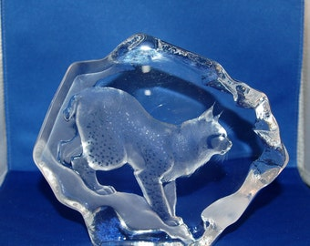 Swedish artist Mats Jonasson Wonderful Crystal / Glass BOBCAT / LINX Wildlife Series Paperweight / Sculpture ~ # 3364 ~ Signed ~ 5 of 42