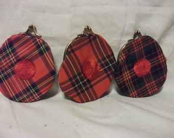 Vintage Plaid Coin Purse - Set of THREE