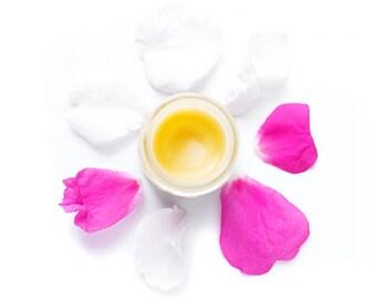 Wild Rose Balm - Beauty Balm, Repair Balm - Organic Rose Infused Moisturizing Salve - 1 oz glass jar