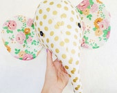 Gold dotted elephant plush wall mount, whimsical nursery decor, faux taxidermy, made to order