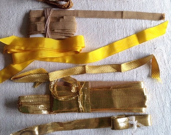 Golden Metallic Braids & Yellow Grosgrain Bullion Work 8pc Tapes Ecclesiastical Arts Deco Period Costume
