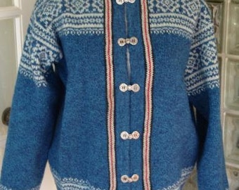 Vintage Blue Wool Nordic Sweater Carved Metal Hook Braid Trim Cardigan Jacket M Medium