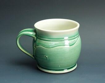 Pottery coffee mug, ceramic mug, stoneware tea cup jade green 16 oz 3399