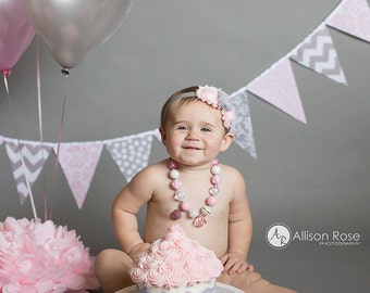 Banner Bunting, Fabric Pennant Flags, Wedding Decor, Light Pink, Grey, Polka Dot, Chevron, Damask, Photo Prop, Baby Girl Nursery Decor