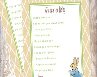 Peter Rabbit Wishes for Baby cards baby shower Beatrix Potter new baby