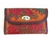 """50% OFF SALE Vintage 1970's Leather Wallet Hippie Clutch / Hand-Tooled Leather Floral Rose """"Jean"""" Name Purse Bag"""