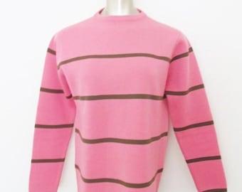 40% OFF SALE Vintage 1960's Pink Ski Sweater / High Neck Winter Nylon Sweater Pullover Shirt / Size Small-Medium
