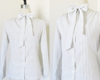 Vintage 1980's Pin Striped Blouse / Black and White Polyester Woman's Retro Secretary Top Tunic Business Shirt NORDSTROM