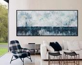 Large Abstract Painting 72x30 seascape horizon extra large  horizontal Painting blue black -spring starts- Elena