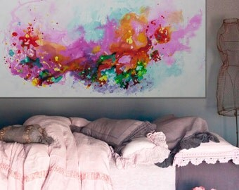 Original Abstract Painting pink floral flower purple Painting modern art -be like a flower- Elena Petrova