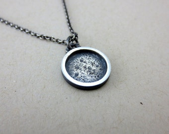 Moon Necklace in Oxidized Sterling Silver
