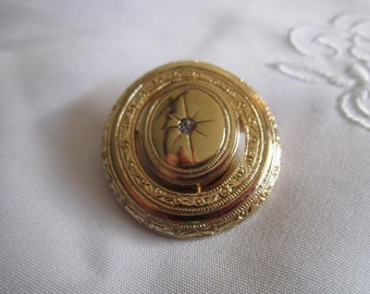 Vintage Avon Gold Tone Round Etched Brooch with Tiny Clear Faceted Rhinestone