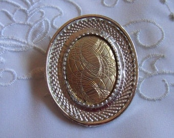 Vintage Scarf Clip with Silver Tone Framing Around a Gold Tone Etched Center