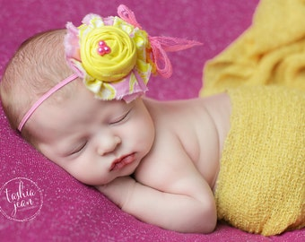 Lots of Lemonade- bright pink and yellow rosette with chiffon flower headband