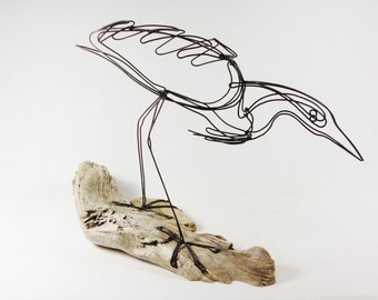 Heron Wire Sculpture, Bird Wire Art, Folk Art, 469360965