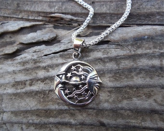 Moon, stars and sun necklace handmade in sterling silver