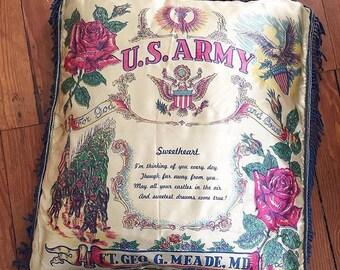 Vintage US Army Pillow, Souvenir Pillow, Army Souvenir, Sweetheart Army Pillow, Vintage Army